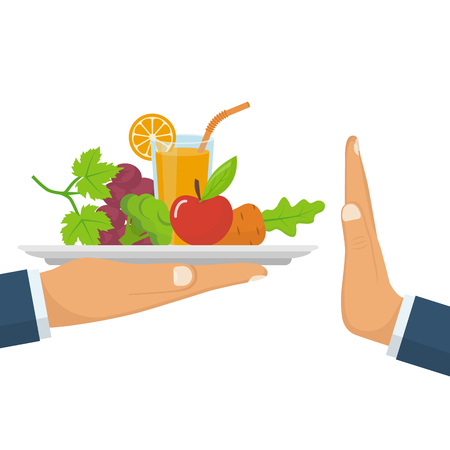 Rejecting the offered healthy food. Refuse raw food