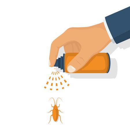 Pest control. Man hold sprayer Illustration
