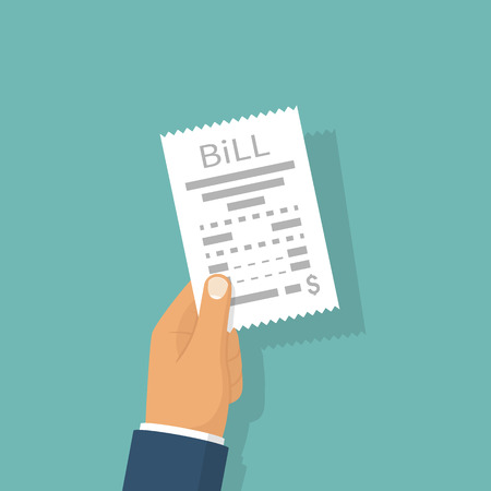 hand holding paper: Man paying bill Illustration