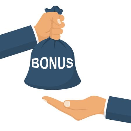 Man holds a bag of money in hand like a bonus