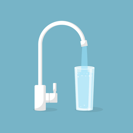 drinkable: Water tap with glass Illustration