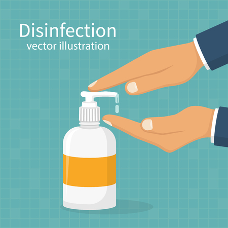 Disinfection concept.Man washing hands