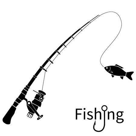 Fishing icon silhouette concept.