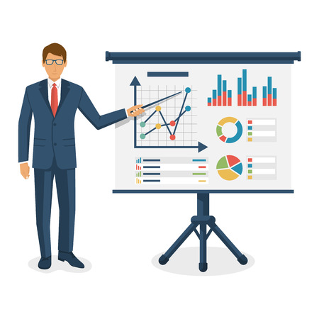 Financial consultant concept. Consultant businessman near blackboard holding a pointer in hand, training. Research graphs market, diagrams, charts financial reports. Accounting organization process.