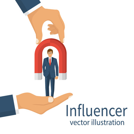 detain: Influencer concept. Detain and influence a person. Businessman in hand holding magnet for attraction. Vector illustration flat design. Isolated on white background.