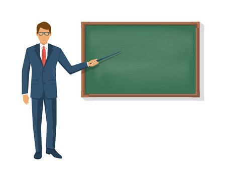 Teacher standing in front of blank school blackboard. Professor in suit with pointer in hand points to green board. Vector illustration flat style. Template for design. Education concept.