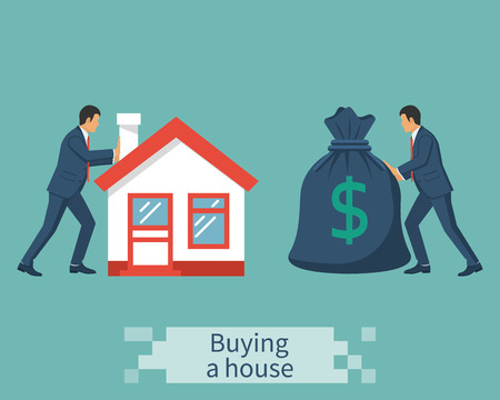 Buying house vector 矢量图像
