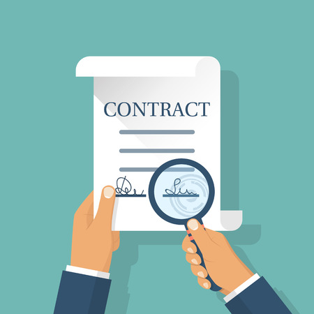 signing: Contract in hands vector
