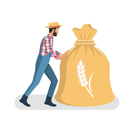 spica: Male farmer carry big bag of grain.