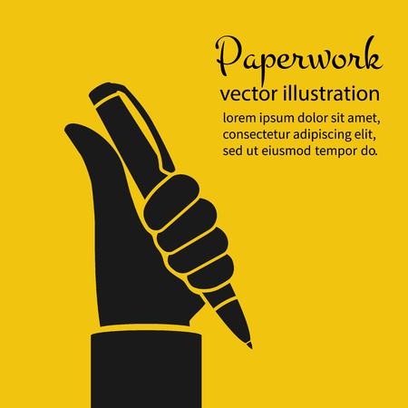Paperwork concept pen in hand