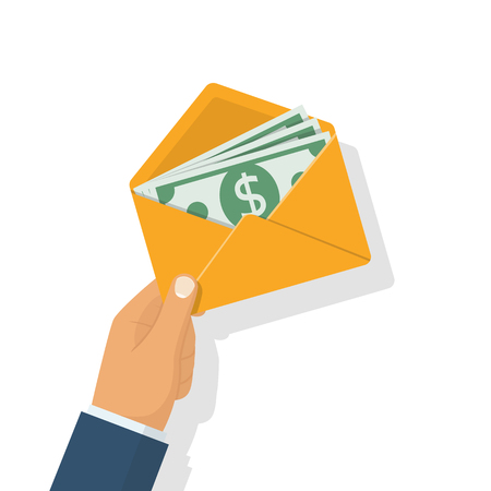 monies: Businessman holding a money in envelope Illustration