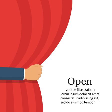 Open the curtain. vector hand. Vector illustration. Illustration
