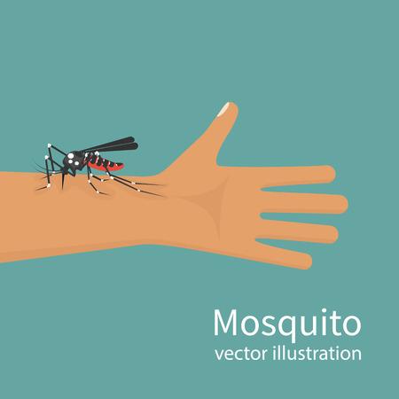 Mosquito bite on skin hand human Illustration