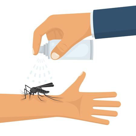 repulsive: Mosquito spray in hand human Illustration