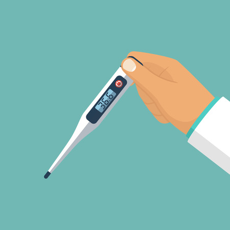 Thermometer in hand vector Vectores