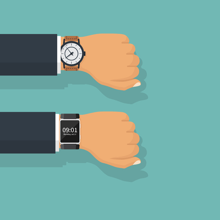 Analogy and smart watch isolated on hand of businessman in suit.