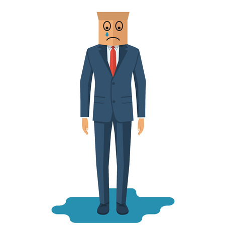 sad businessman: Human is crying. Businessman in suit