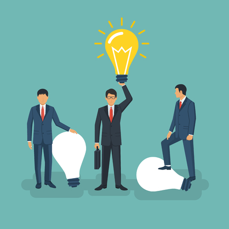 different thinking: Unique idea. Businessman holding in hand lightbulb concept.