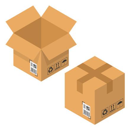 Illustration vectorielle 3D d'une boîte en carton ouverte et fermée vide, isolée sur blanc