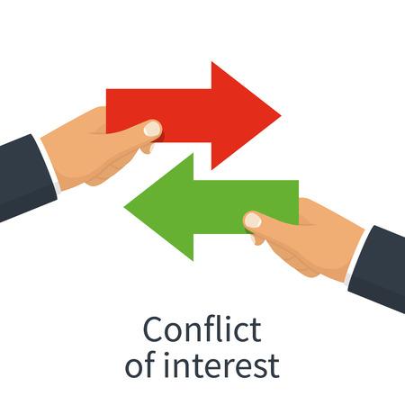 Konflikt interesów wektor ilustracja na białym tle.