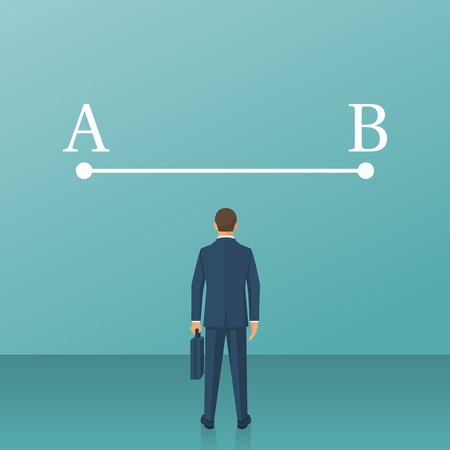 Way from point A to point B on wall, Vector illustration.