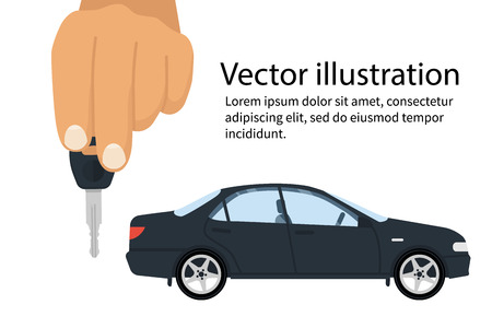 Car key in hand. Vector illustration flat design. Vehicle isolated on background. Maybe as a template for the sale, purchase, rental, presentation. Give, show keys.
