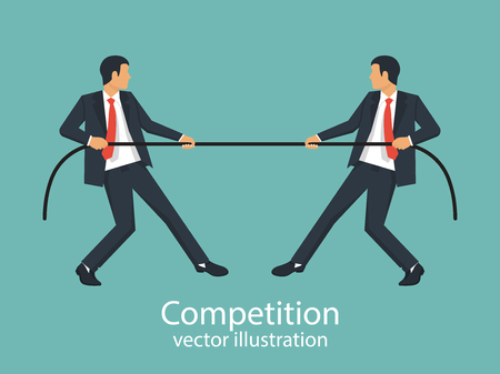 Competition concept Vector illustration on blue background. Illustration