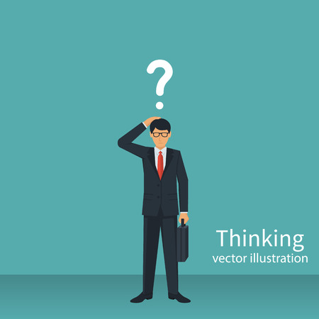 Thinking businessman vector