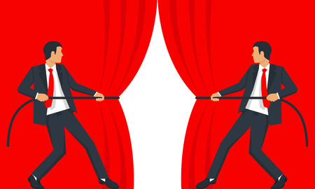 Open curtain vector Illustration