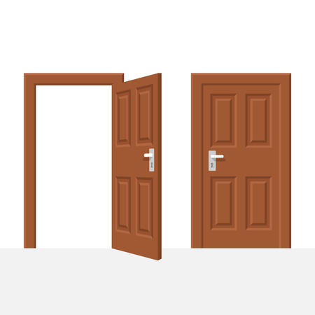 Open and closed wood door Illustration