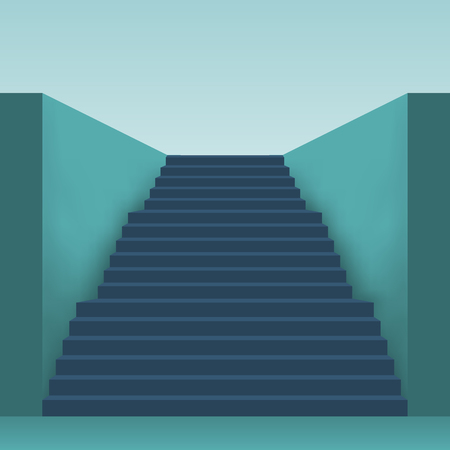 interior design: Long stairs with many steps. Illustration