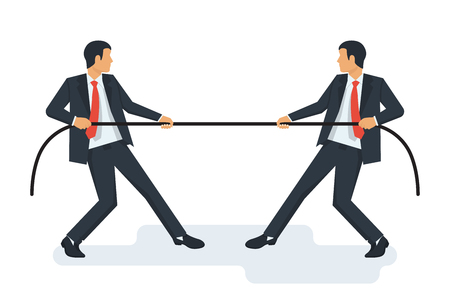 Tug concept. Two businessmen in suits pull the rope Illustration
