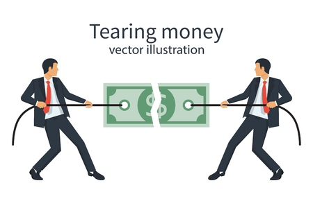 Two business-men break a dollar bill with rope illustration.