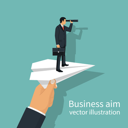 Man with briefcase standing on paper plane to achieve business g