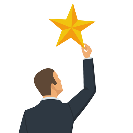 Businessman holds big yellow star isolated in white background