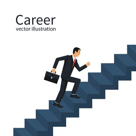 Biznesmen wspina się po szczeblach kariery.