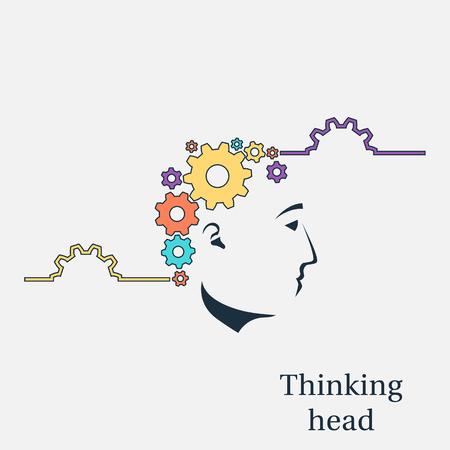 thinking machines: Thinking head vector Illustration