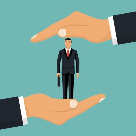 Biznesmen w ręce dłoni trzyma klienta. Ilustracje wektorowe