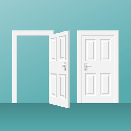 Open and closed white door on blue background, vector illustration.