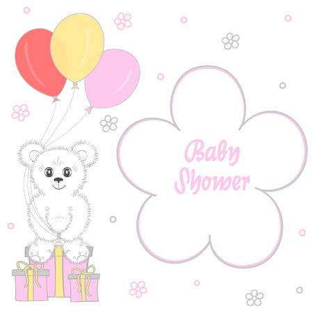Baby shower girl on white background, vector illustration.