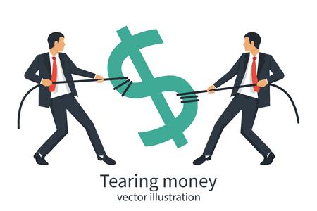 Two businessmen break sing dollar bill with rope