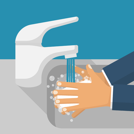 Wash hands in sink vector