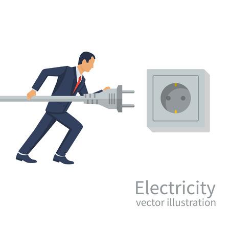 Businessman holding in hand electric power plug. Zdjęcie Seryjne - 90373007