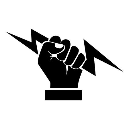 Lightning holding in hand black silhouette