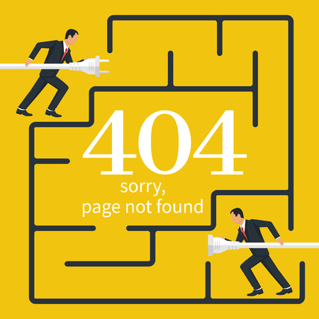 404 Error, page not found. Connection error. Two businessmen with fork and rosette running along labyrinth. Electrical outlet and plug in hand man disabled, concept. Isolated on background. Stock Illustratie
