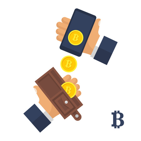 Two hands with a wallet and cellphone with bitcoin symbol. Cryptocurrency blockchain. Cryptocurrency technology, bitcoin exchange, bitcoin mining. Electronic money is falling from smartphone wallet in hand. Vector design Isolated on white.