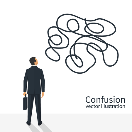 Man standing with a briefcase and Confused thoughts vector Illustration