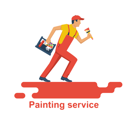 Painter holding in hand toolbox with painting tools Vectores