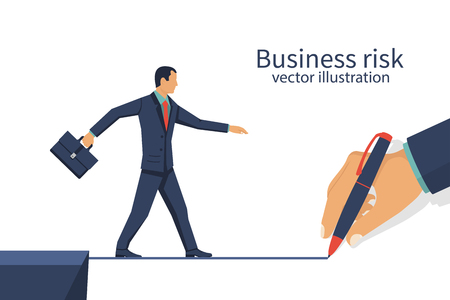 Creativity people. Businessman draws way, direction to success. Business concept leadership. Vector illustration flat design. Isolated on background. Human hand drawing forward. Concept development.