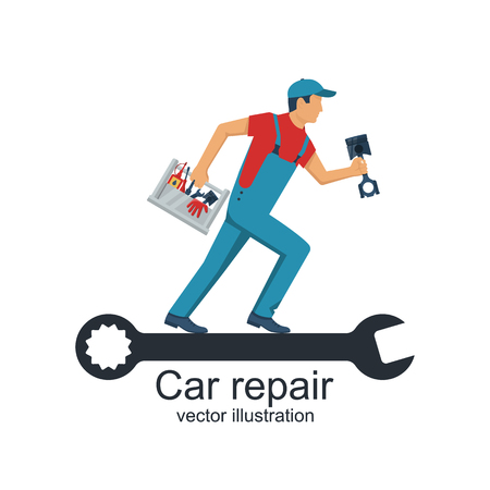 Auto mechanic with toolbox and spare parts for repair of cars